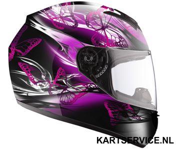 Helm LS2 zwart/vlinders