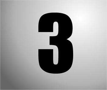 Plakcijfers zwart nummer 3
