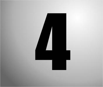 Plakcijfers zwart nummer 4