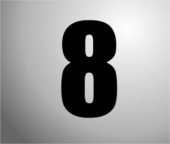 Plakcijfers zwart nummer 8