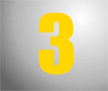 Plakcijfer geel nummer 0 t/m 9 (per stuk)