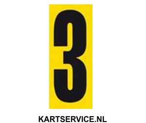 Plakcijfer zwart met gele achterkant nummer 0 t/m 9 pst.
